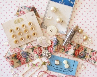 Girly Sweet Treats...Vintage Buttons, Ribbon, & Found Goodies
