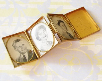 To Show Off the Grandbabies...Vintage Gold Photo Compact