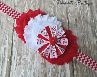 Valentine Baby Headband Valentine Headband Baby Heart Headband Red and White Heart Headband Red Heart Headband Valentine Headband
