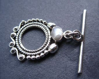 Toggle Clasp with Pearl - Solid Sterling Silver