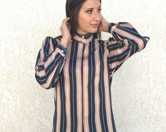 Vintage 80's silky secretary blouse XS