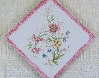 Handmade Ceramic Spoon Rest / Ceramic Coaster / Spoon Holder / Kitchen Trivet / Floral Decor / Wine Coaster / Cup Coaster / Tea Coaster