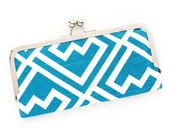 Blue Greek Key Cell Phone Wallet Clutch with Kisslock Frame Closure in Turquoise Greek Key Printed Cotton