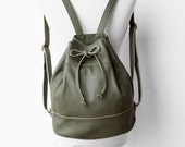 Drawstring Backpack in Military Green / Green Bag /Leather Backpack / Leather Bag / Drawstring Bag / Bucket Bag / Green Backpack