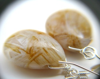 White Agate Earrings . Large Teardrop Earrings . Natural Gemstone Earrings . Bamboo Leaf Agate Earrings - Ghost Orchid Collection NEW