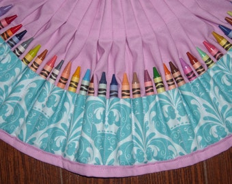 aqua crown damask Crayon apron