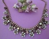 Vintage Rhinestone Flower Necklace