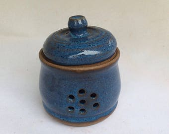 HANDMADE garlic keeper, dark blue, container, ceramic, pottery, storage, decorative, ready to ship/gift /kitchen  B106