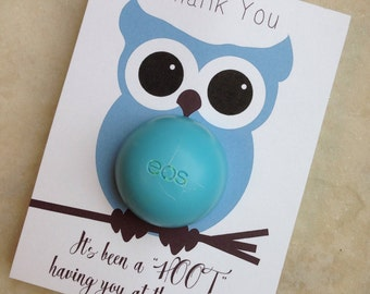 Owl themed baby shower EOS lip balm party favor, blue, brown, instant download, thank you, it's been a hoot having you at the shower, boy