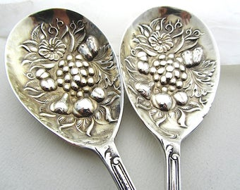 Oldies But Goodies, Matching Pair of Berry Spoons, Vintage EPNS Spoons, Fruit Pattern Serving Spoons, Pair of Tablespoons, English Vintage