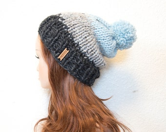 Knit Hat, Slouchy Knit Hat with Pom Pom / Mile High / Charcoal, Grey Marble & Glacier / READY TO SHIP