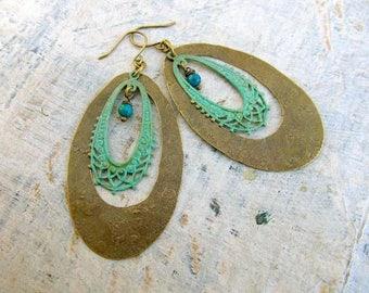 Big earrings / hoop earrings - turquoise earrings - patina statement earrings - Bohemian Jewelry