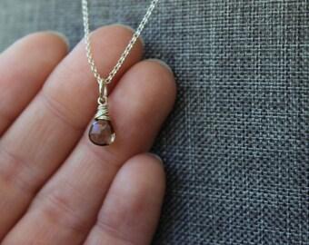 Smoky Quartz Sterling Silver Necklace