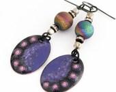 Purple Enamel Artisan Earrings, Rainbow Druzy Earrings, Bohemian Earrings, Fantasy Earrings Purple Earrings, One of a Kind Unique Gift SRAJD