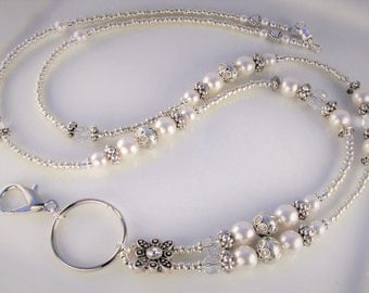 Silver & Pearl Lanyard ANTIQUE PEARL ID beaded Badge Holder