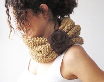 50% CLEARENCE Camel Cowl Scarf with Brown Roses by Afra