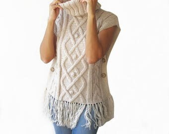 WINTER SALE White - Off White Cable Knit Poncho by Afra