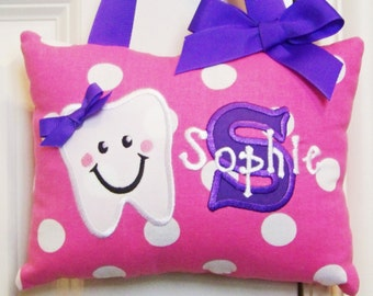 Tooth Fairy Pillow for Girl Personalized-Pink and Large White Polka Dots