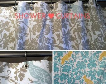 Fabric Shower Curtain - Bathroom Decor Barber Bird Premier Prints Fabric - Navy Blue Gray Blue Yellow 72 x 72 Average Size or Choose Size