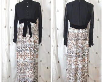 Vintage Mod Formal Maxi Dress, Black with Print Metallic Long Skirt, Rhinestone Buttons, Velvet Bow Belt, Long Sleeve, Size Medium, Large