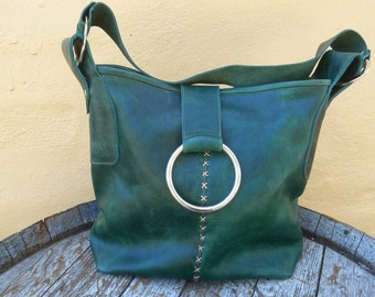 Rustic green leather bag