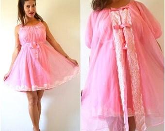 FLASH SALE / 20% off Vintage 60s 70s Flamingo Pink Nylon Nightgown and Peignoir Set