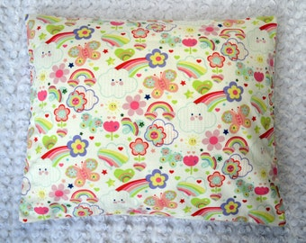 The Perfect Toddler Pillow ... Cheerful Clouds, Rainbows, Flowers and Hearts on White Flannel ... Original Design by Sew Cinnamon