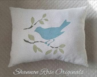 Bird throw pillow sweet blue birdie country decor