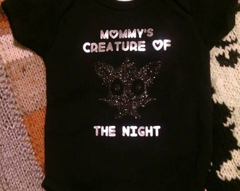 Mommy's Creature of the Night Onesie with glittery bat