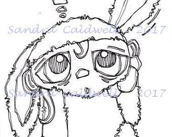 1523 Chocolate Bunny Digi Stamp
