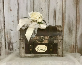 Wedding Card Box, Shabby Chic Wedding Card Box with Floral Accents, READY TO SHIP Ribbon and Lace, Rustic Wedding Decor, Barn Wedding