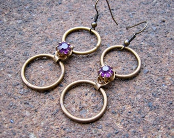 Eco-Friendly Dangle Earrings - Forever and Back Again - Brass Hoops and Recycled Vintage Purple Prong-Set Rhinestone Connector Beads