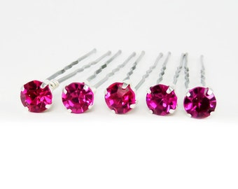 Fuchsia Rhinestone Hair Pins - Fuchsia Crystal Hair Pins, Fuchsia Wedding Pins, Fuchsia Bobby Pins - 7mm/5 qty - FLAT RATE SHIPPING