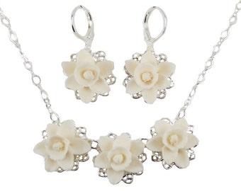 Daffodil Jewelry Set - Trio Daffodil Jewelry, White Daffodil Wedding Jewelry, March Birthday Birth Flower, Spring Flower Jewelry