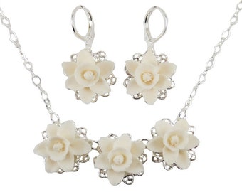 Daffodil Jewelry Set - Trio Daffodil Jewelry Collection, White Daffodil Wedding Jewelry, March Birthday Birth Flower