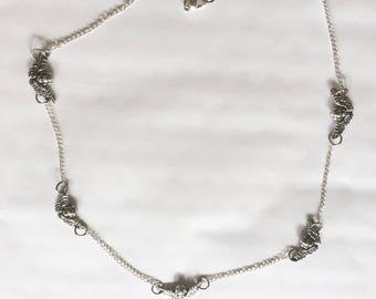 Cherub / Guardian angel inline necklace Angel head with wings Celestial silvertone 45 cm