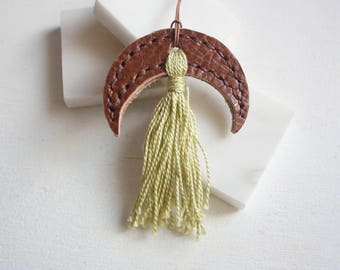 Crescent Necklace // Ethical Leather / Long Necklace / Boho Tassel Necklace / Long Tassel Necklace / Long Boho Necklace