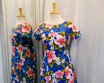 Vintage 1960s 60s Hawaiian Dress Blue and Pink Print Muu Muu Long Dress Maxi Dress 60s Fashion 60s Beach Fashion Tropical Print Size S