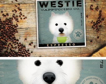 West Highland Terrier Westie Coffee Company art UNFRAMED print by Stephen Fowler PIck A Size