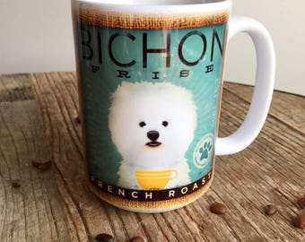 Bichon Frise dog coffee mug graphic art MUG 15 oz  OR 11 oz ceramic coffee mug READ details 15 oz mug pictured