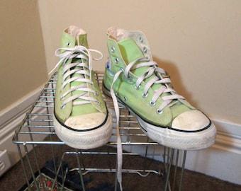 USA Vintage Green Converse High Top 90s sneakers Pistachio cotton rubber Converse classic shoes US 8 men 9.5 women