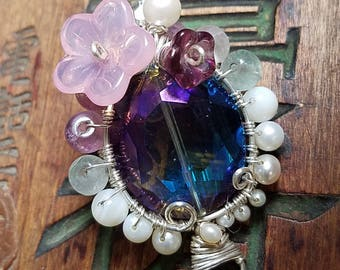 World Wakes Up - thunderpolish glass pearl silver fluorite amethyst