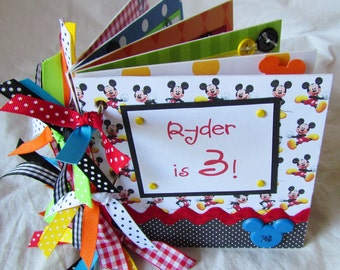 mini DiSNeY premade scrapbook CHIPBOARD ALBUM -- PERSONALIZED --  Mickey Mouse - birthday, Disney World, vacation, personality album