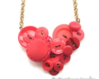 Red Heart Vintage ButtoN Necklace - over the head length