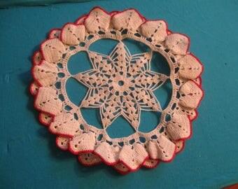 Crochet Doily, Red and White Doily, Star Doily, Handmade Doily