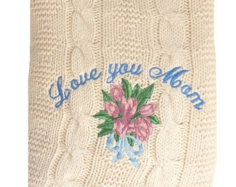 Fisherman Knit Style Cotton Blanket with Gorgeous Tulip Embroidery and Personalized Mothers' Day