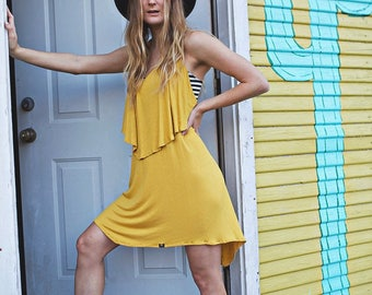 Made To Order Mustard Halter Dress