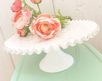 RESERVED...Have Your Cake and Eat It Too... Vintage Fenton Silver Crest Spanish Lace Milk Glass  Milkglass Cake Stand Pedestal Cupcake Stand
