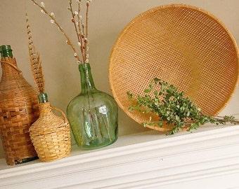 A Tisket A Tasket... Vintage Bamboo Hand Woven Winnowing Basket Boho Bohemian Style Farmhouse Decor