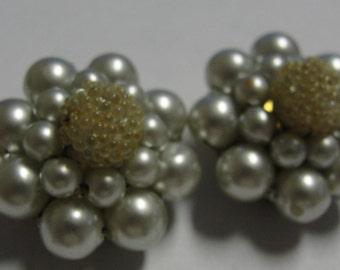 Pale Blue Beaded Clip Earrings HONG KONG